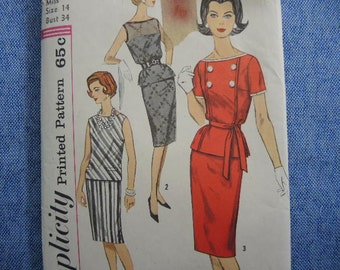vintage 1960s Simplicity sewing pattern 3879 two piece dress size 14