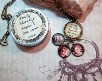Photo Necklace Multi Pendant Personalized Custom Picture Necklace in Gift Tin for Moms Grandmothers Family  Love never ends