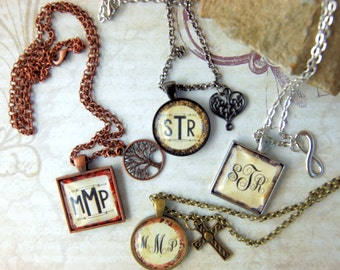 Monogram Pendant Necklace Custom Initial Pendant Jewelry with Charm in Matching Gift Tin for Moms Friends Sisters Cousins
