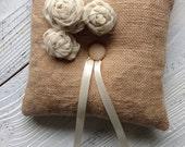 Burlap Ring Bearer Pillow Wedding Pillow Burlap and Silk Chiffon Ring Pillow