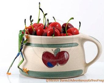 Cherry Picking, Frog Art for Kitchens, Red Cherries, Kitchen Art, Food Art