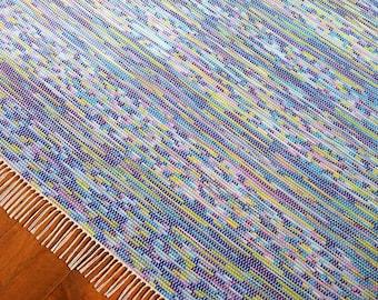 8x10 Rag Rug / Blue, Purple, Lilac, Lime Green