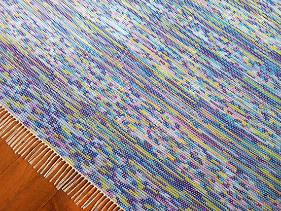 8x10 Rag Rug Blue Purple Lilac Lime Green