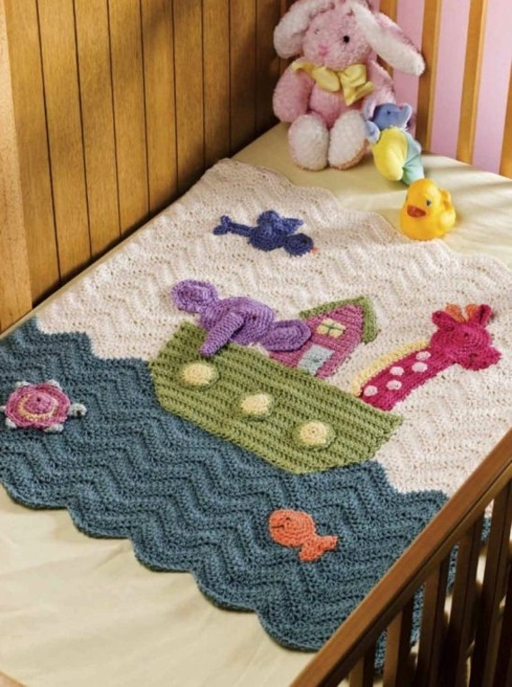 Crochet Baby Blanket Patterns With Animals : Noahs Ark Crochet Baby Blanket Afghan Pattern Animals Cover