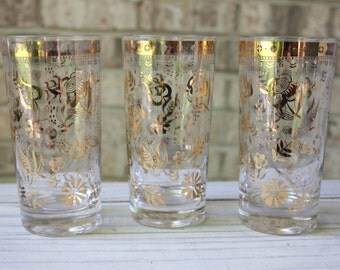 Beautiful set of 3 Georges Briard gilded floral pattern glassware mid century tumblers