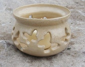 White Candleholder with Spring Butterflies