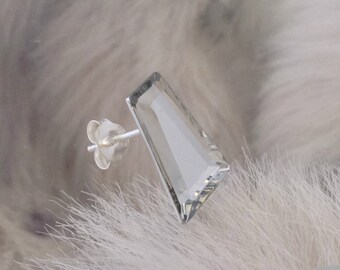 Vintage Swarovski Crystal Keystone 15x11mm Silver Or Hypo Titanium Earrings long Comet Argent Mirror Rhinestone Post Minimalist Stud Jewelry