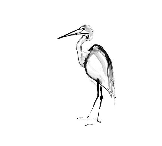 Encre heron peinture animal art aquarelle peinture dessin for Dessin minimaliste
