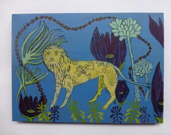 SOLD Folk art lion painting on board original unique painting