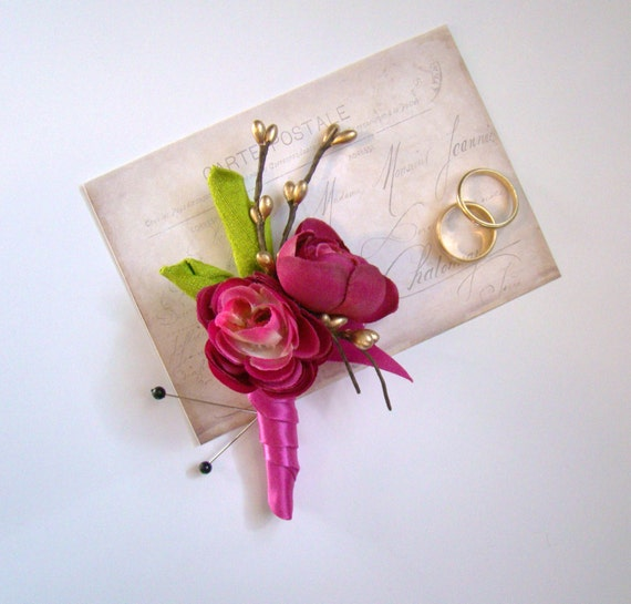 Men's Boutonniere, Wedding Boutonniere, Grooms Boutonniere, Groomsmen, Neon Fuchsia, Lime Green Wedding, Gold and Hot Pink, Ranunculus