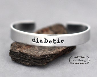 Diabetic bracelet, Custom cuff bracelet, Personalized cuff, Medical Alert, Allergy ID Bracelet, Drug Sensitivity, metal stamping cuff