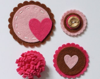 Pack of Four Handmade Felt Embellishments - Baby pink, Hot pink & Chocolate Brown, Scrapbooking Embellishments, Cardmaking Embellishments
