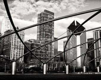 Chicago Photography, Millennium Park Pritzker Pavillion Black & White Fine Art Photograph