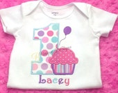 Birthday Cupcake with Balloon Shirt, Girls First Birthday Shirt, Polka Dots T-Shirt or Bodysuit