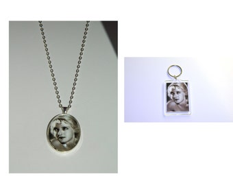 Bette Davis Glass Pendant Necklace and/ or Keychain