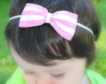 Pink & White Stripe Bow. Baby Headband. Infant Headband. Girl Headband. Toddler Headband. Baby Bows.