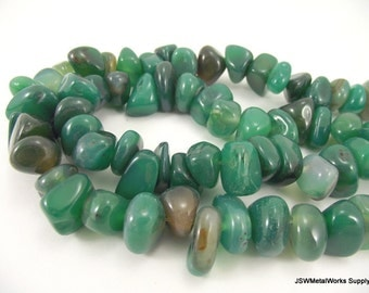 Green Agate Nugget Beads, Large Chip, 16 - 20mm, 100  pieces