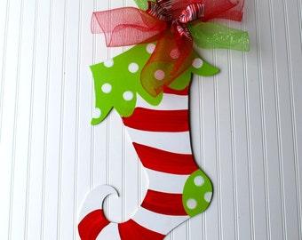Christmas Stocking Door Hanger, Christmas Decor, Christmas Door Hanger, Door Decoration, Holiday Decor