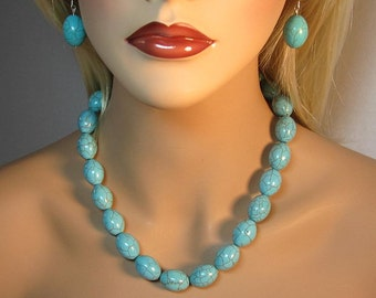 Necklace Earrings Set Turquoise Beaded