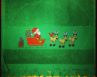 Snowman or Santa Christmas Cross Stitched hand towels