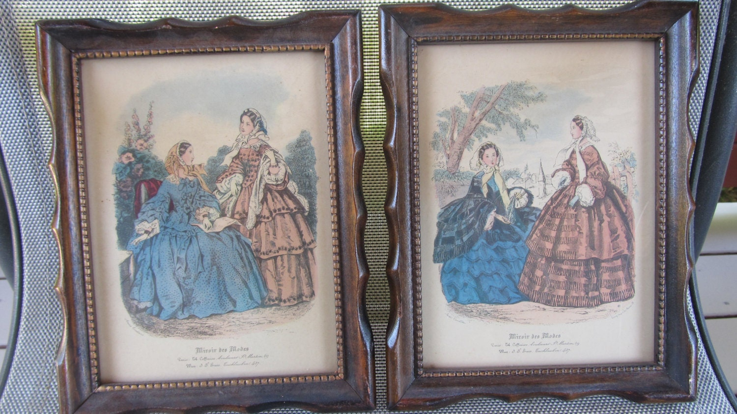 Vintage framed set of leroy miroir des modes by sandrasveranda for Miroir des modes value