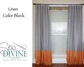 Linen Color Block Curtain Panels, Horizontal Stripe Curtains
