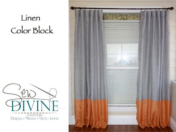 Items Similar To Linen Color Block Curtain Panels