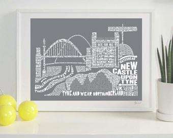 Newcastle Skyline Typography Print