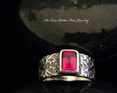 Recycled Silver Ruby Ring,  Renaissance Romance Collection, Diamond Alternative, July Birthstone