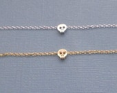 Tiny Skull Bracelet, rhodium plated, silver plated, gold plated, rose gold, matte, shiny, simple, everyday, dainty, gift
