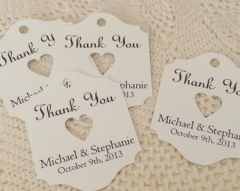 Thank You Tags - Sweet Heart - Wedding Favor Thank You Tags - Personalized - Bridal Shower - Baby Shower - Custom Quantities WT018