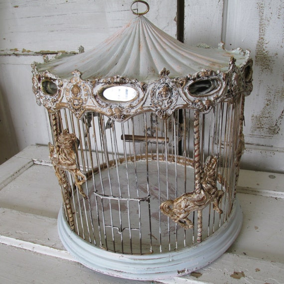Carousal Bird Cage Antique Wood Wire Ornate Merry Go Round