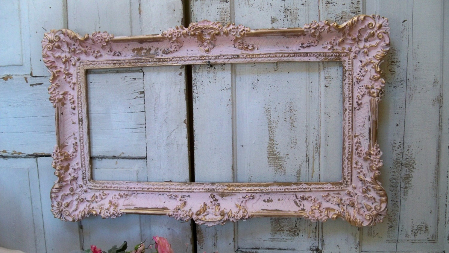large picture frame shabby chic vintage pink gold romantic. Black Bedroom Furniture Sets. Home Design Ideas