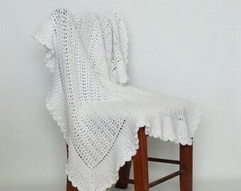 Crochet Baby Blanket Afghan White Christening Heirloom - Newborn, Baby Girl, Baby Boy, Crib Bedding, Baby Gift, Nursery Decor, Lap Afghan