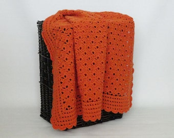 Crochet Afghan Blanket Throw Lap Carrot Orange