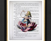 """Alice In Wonderland """"Her Style""""ARTWORK Mixed Media art print on book page, with Pink Flamingo, Lotus Flower Art Print"""