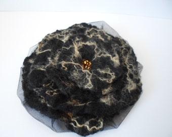 Black  Felt Flower Fascinator Hat or Brooch with Gold Trim and Beaded Center