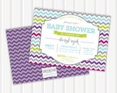 Chevron and Frame Baby Shower Invite | 5x7 | Double Sided
