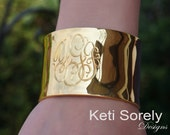 Monogrammed Cuff Bangle With Personalized Initials in Sterling Silver, Yellow Gold or Rose Gold - Large Cuff bangle with Engraved Initials