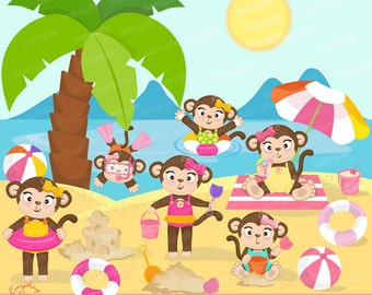 Girl Monkeys on the Beach Clipart Set