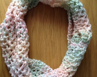 Pastel Lacy Hand Knitted Cowl