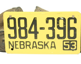 Vintage Yellow and Black Bicycle License Plate For Nebraska 1953