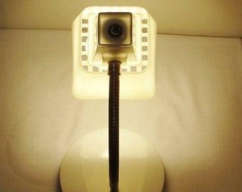 Vintage Desk Lamp Metal Gooseneck with White Square Shade