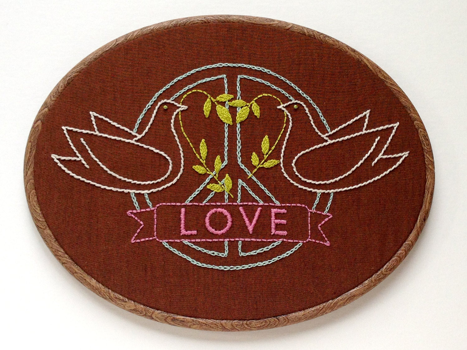 Peace And Love Hand Embroidery Pattern