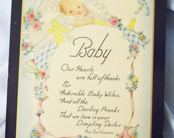Vintage Picture 1930s New Baby Poem (Dated 1939)