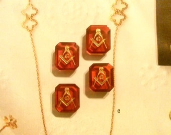 4 Vintage Masonic Ruby Red Octagon Stones