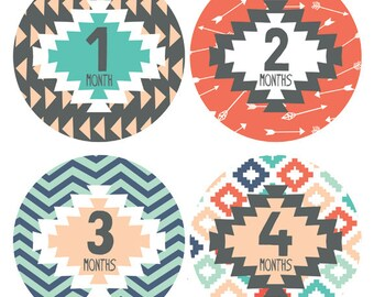 Baby Monthly Stickers - Tribal Baby Monthly Stickers - Gender Neutral Monthly Stickers - Milestone Stickers - Bodysuit Stickers - Set of 12