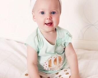 Baby Month Milestone Stickers - Perfect Photo Prop- Metallic Gold Stickers- Little Diva Design- Months 1-12