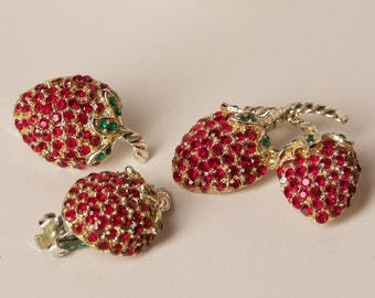 Vintage Rhinestone Strawberry Clip Earrings and Brooch