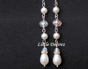Swarovski Pearl and Crystal Bridal Drop Earrings, Bridesmaid Jewelry, Teardrop Pearl Dangle Earring, Handmade Wedding Bridal Jewelry TWINKLE